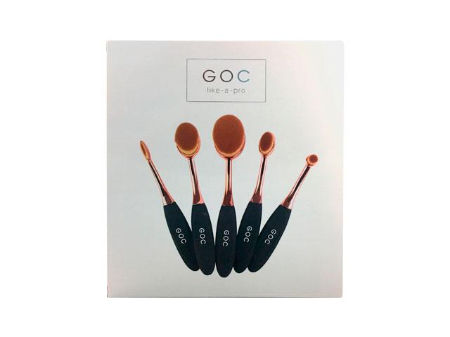 goc like-a-pro brochas ovaladas maquillaje 5 pzas