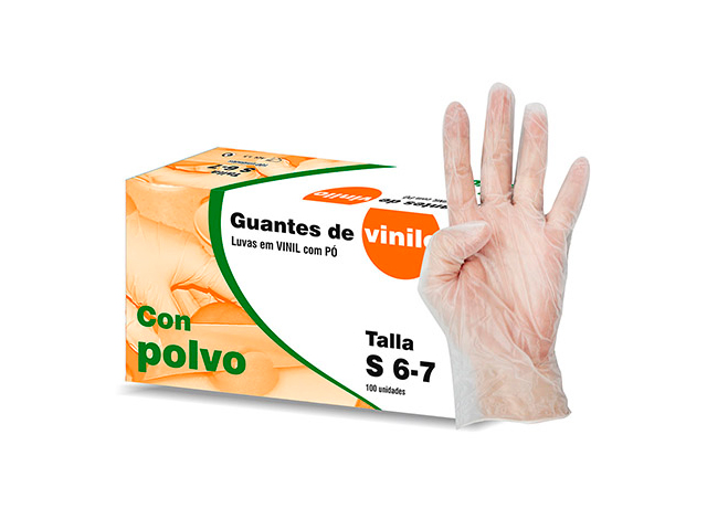 guantes vinilo talla s 100und
