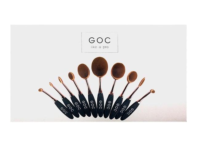 goc like-a-pro brochas ovaladas maquillaje 10 pza